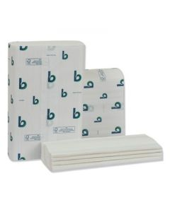 BOARDWALK Structured Multifold Towels- 1-Ply, 9 x 9.5 -  White - 250/Pack -  16 Packs/Carton