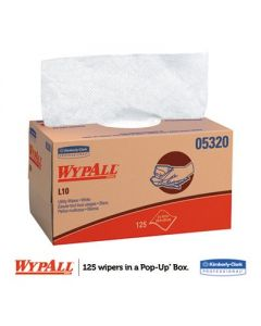 KIMBERLY CLARK - WypAll - L10 Towels- POP-UP Box-  1Ply -9 x 10 1/2 - White -  125/Box - 18 Boxes/Carton