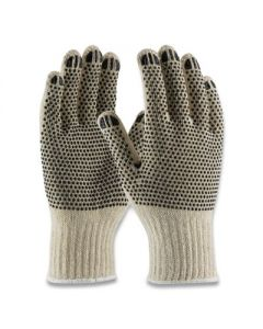 PROTECTIVE INDUSTRIAL PRODUCTS INC PVC- Dotted Cotton/Polyester Work Gloves - Small- Gray/Black - 12 Pairs